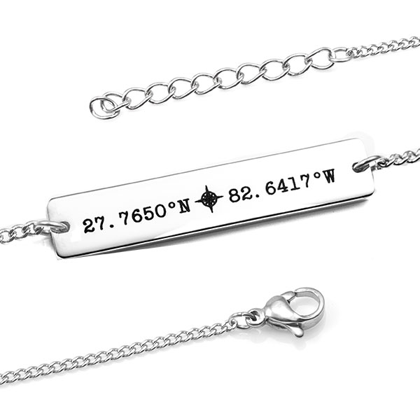 silver minimal personalized bar bracelet
