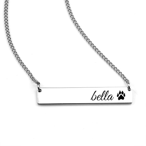 Personalized Silver Handwriting Bar Necklace inset 1