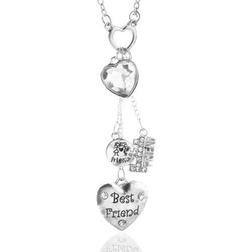 Best Friends Heart Necklace & Matching Earring Set inset 1