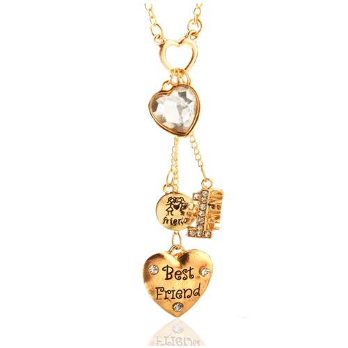 Best Friends are Golden Fashion Necklace & Earrings Set inset 1