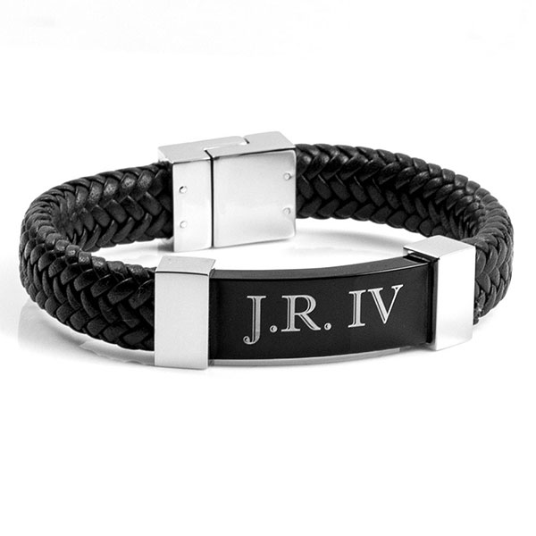 Gerard Black Leather Mens Engraved Bracelets inset 2