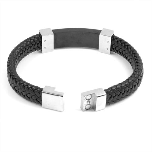 Gerard Black Leather Mens Engraved Bracelets inset 3