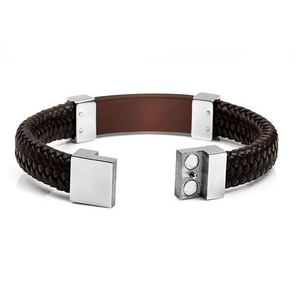 Gerard Leather Bronze Mens Engraved Bracelets inset 1