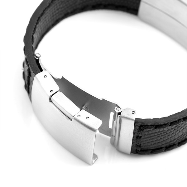 Black Leather Bracelet & Stainless Steel ID Tag 7 3/4 Inch inset 1