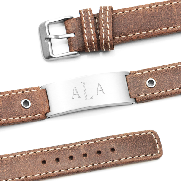 Casual Cocoa Leather Engraved Bracelet  inset 1