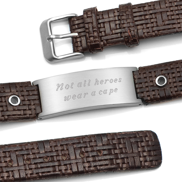Classy Dark Cocoa Leather Engraved Bracelet inset 1