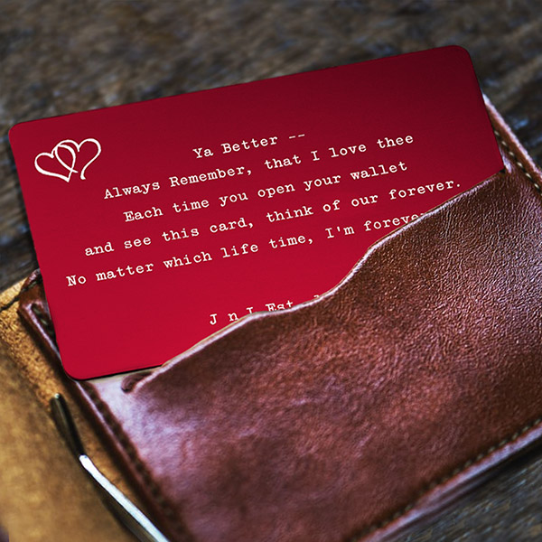 Romantic Gift Engraved Wallet Card Red inset 2