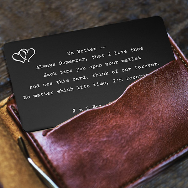 Romantic Gift Personalized Wallet Card Black  inset 2