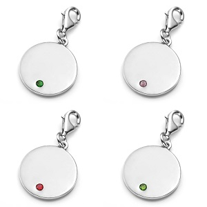Chic Silver Personalized Birthstone Jewelry Charm inset 2