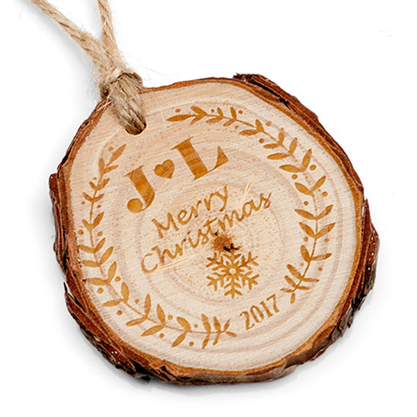 Merry Christmas Engraved Wood Ornament inset 1