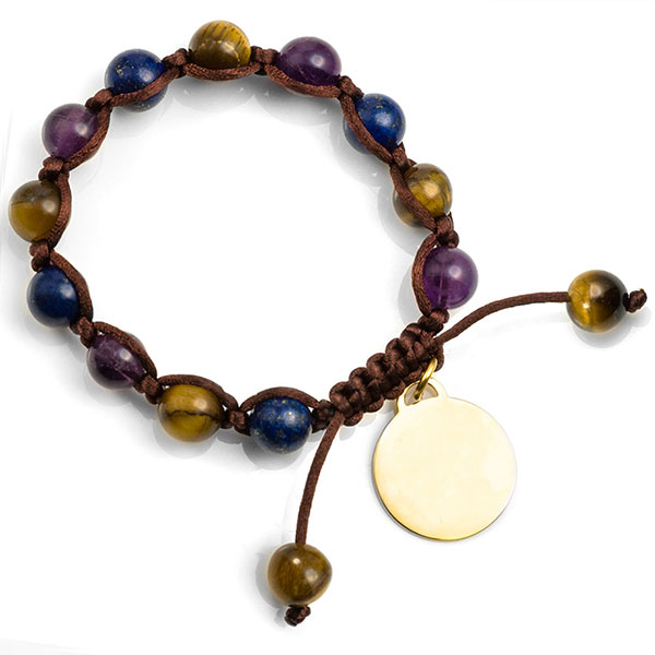 Galen Macrame Gemstone Engravable Bracelet inset 1
