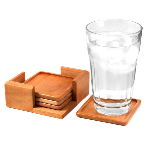 Maple Wood Personalized Coaster Set inset 2