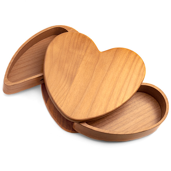 Maple Wood Engraved Heart Keepsake Box with Rotating Compartments inset 1
