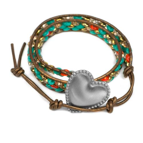 Aphrodite Engraved Heart Button Beaded Leather Double Wrap Bracelet inset 1