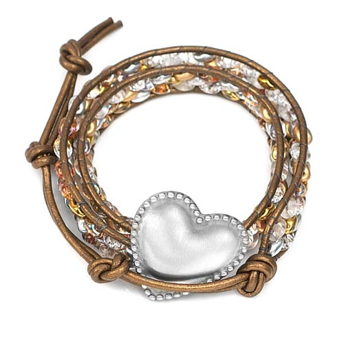 Athena Engraved Heart Button Beaded Leather Double Wrap Bracelet inset 1