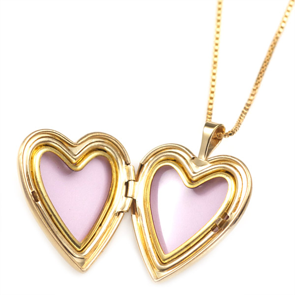 Gold Filled 1st Communion 2 Photo Heart Locket 3/4 Inch inset 1