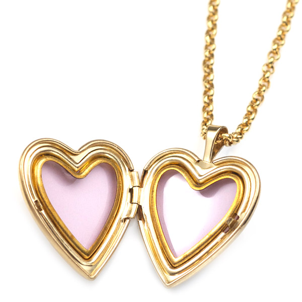 Dove Gold Filled 1st Communion 2 Photo Heart Locket 3/4 Inch inset 1