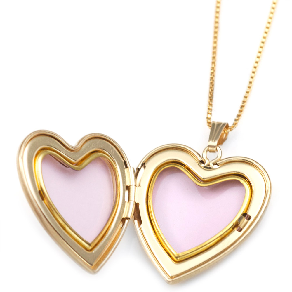 Gold Filled 1st Communion 2 Photo Heart Locket 15/16 Inch inset 1