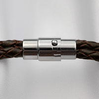 Braided Brown Leather Mens Engraved Bracelets inset 2