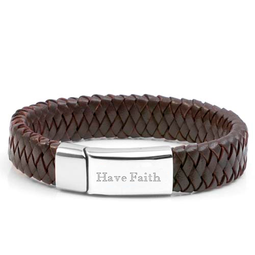 Braided Dark Personalized Leather Bracelets inset 1