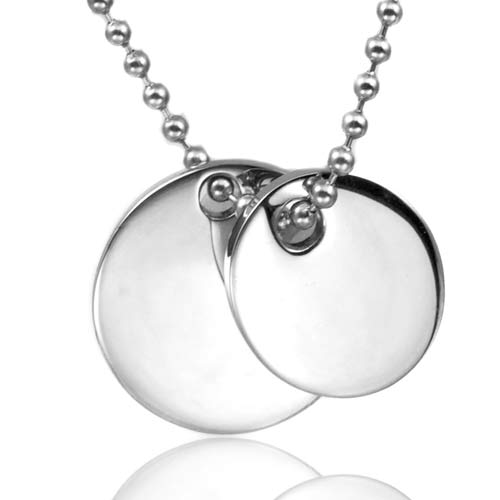 Silver Engraved Double Pendant with Bead Necklace  inset 1