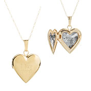 14K Gold Girls Small Heart Engraved Locket inset 2