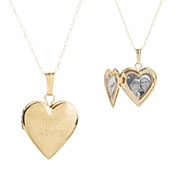 Personalized 14K Gold Girls Heart Engraved Locket inset 3
