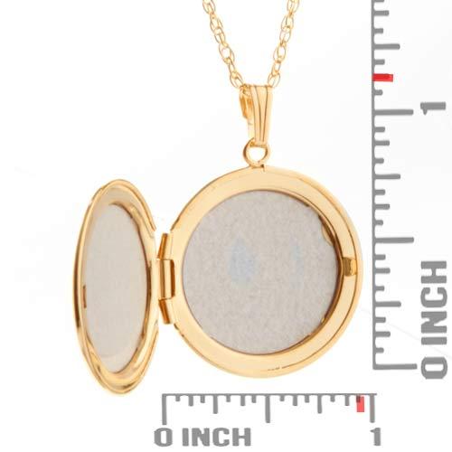 14K Gold Round Engraved Locket Necklace inset 1