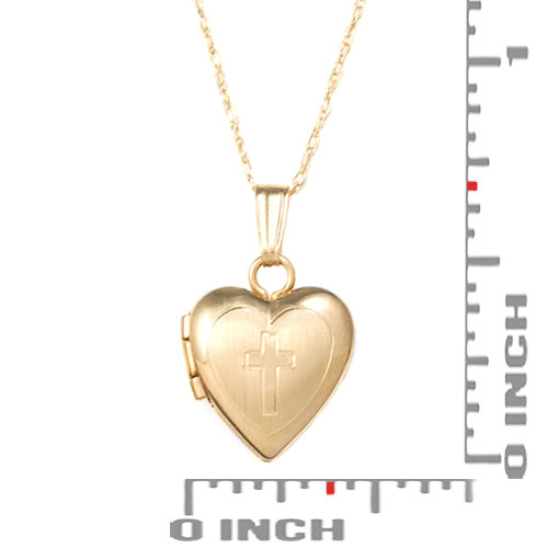 Cross Etched 14k Gold Personalized Lockets inset 2