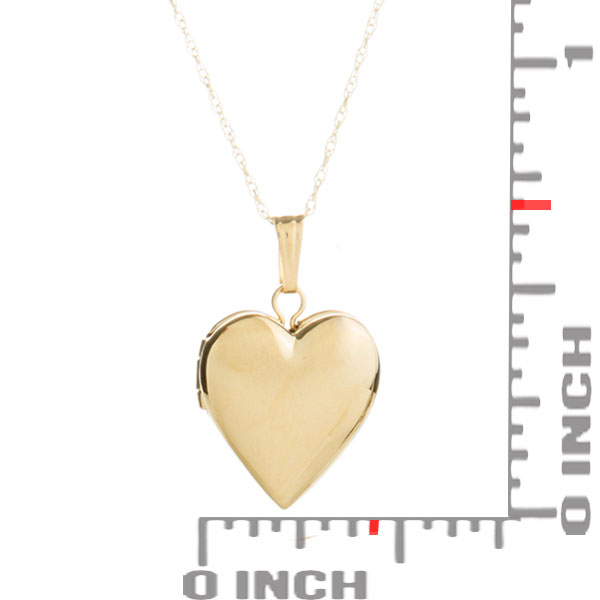 14K Gold Girls Small Heart Engraved Locket inset 1