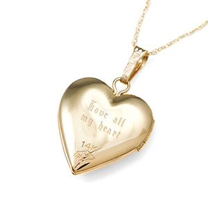 14K Gold & Diamond Heart Engraved Lockets 15 inch chain inset 1