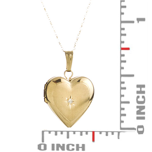 14K Gold & Diamond Heart Engraved Lockets 15 inch chain inset 2