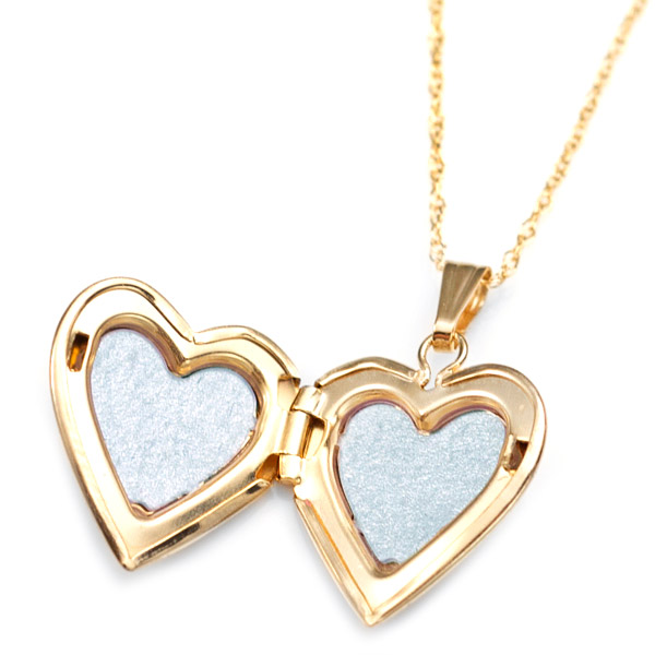 14K Gold & Diamond Heart Engraved Lockets 15 inch chain inset 4