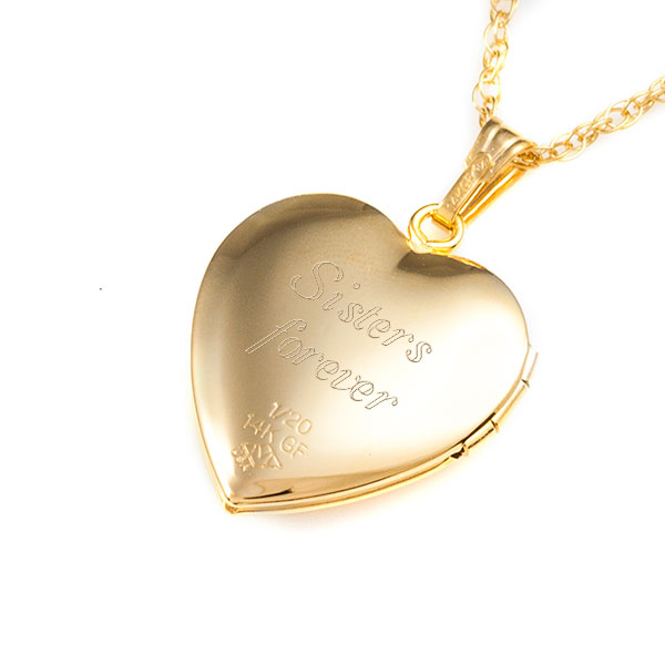14K Gold Filled Butterfly Heart Personalized Locket Necklace inset 2