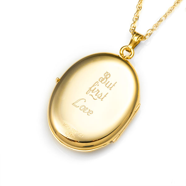 14K Gold Filled Oval 4 Photo Personalized Locket Necklace inset 1