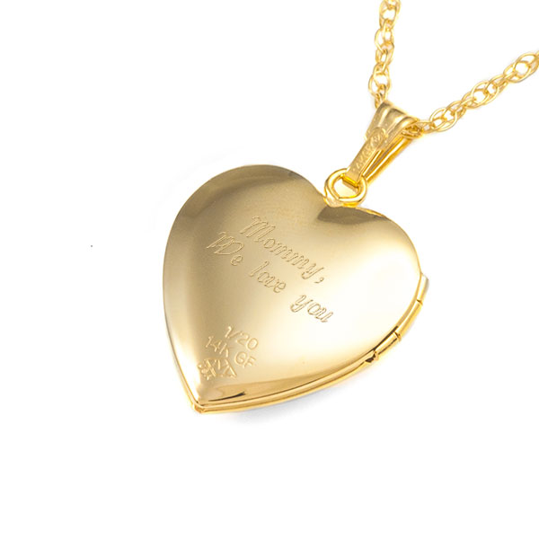 Gold Filled Diamond 2 Pic Engraved Heart Locket inset 2