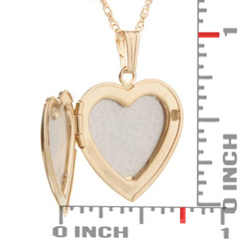 Gold Filled Diamond 2 Pic Engraved Heart Locket inset 1