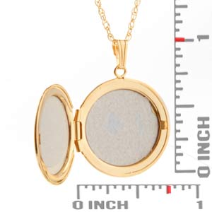 Gold Filled Round Engraved Lockets Necklace inset 1