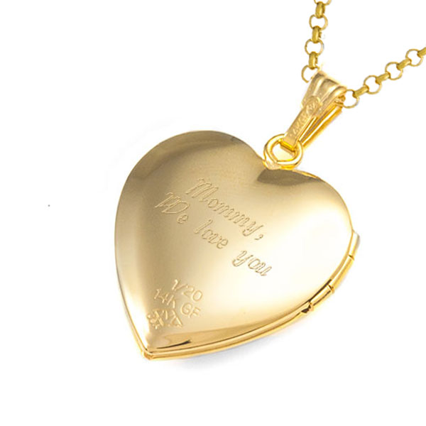 Flower Adorned 14K Gold Engraved Locket inset 2