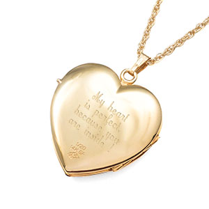 14K Gold Filled 4 Photo Heart Locket inset 2