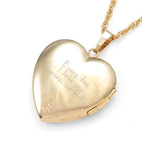 Amelia 14K Gold Heart Engraved Locket inset 3