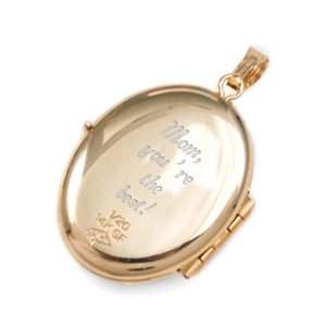 14K Gold Mother & Child Engraved Locket  inset 3