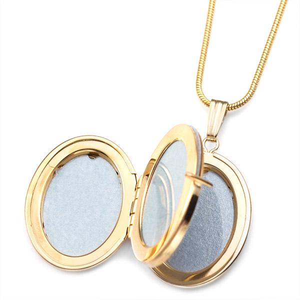 14K Gold Mother & Child Engraved Locket  inset 1
