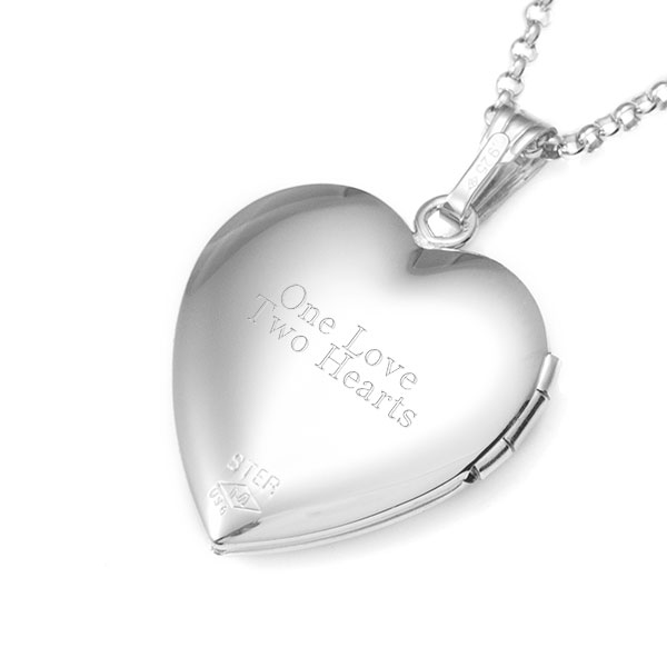 Woven Hearts Sterling Silver Engraved Locket Necklace inset 1