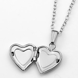 Sterling Silver Baby Girl Heart Engraved Locket  inset 1
