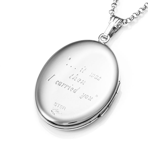 I Carried You Footprints Engraved Locket Necklace inset 2