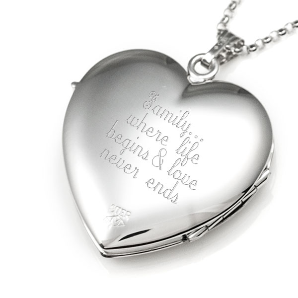 Sterling Silver 1 In Heart 4 Photo Personalized Locket inset 2