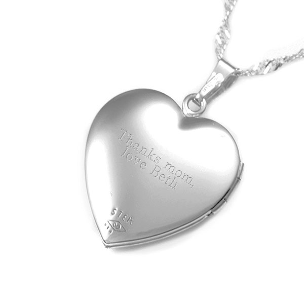 Silver Flowers Heart Engraved Locket for Women inset 3