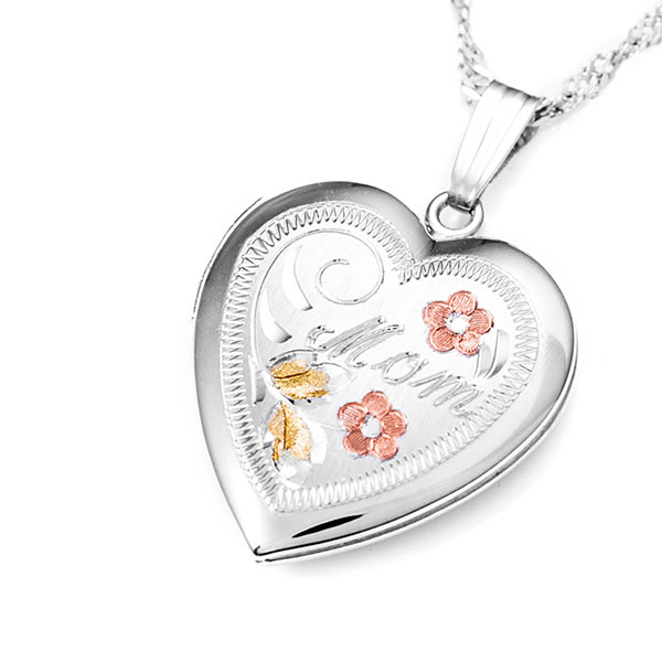 Silver Flowers Heart Engraved Locket for Women inset 1