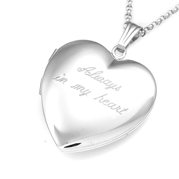 Polished Silver Personalized Locket in Heart Shape inset 2